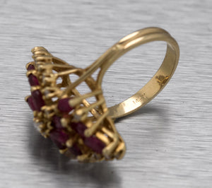 Ladies Antique Estate 14K Yellow Gold 1.56ctw Ruby Diamond Cluster Cocktail Ring
