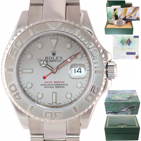 MINT PAPERS Rolex Yacht-Master 16622 Platinum Stainless Steel Date 40mm Watch w Box
