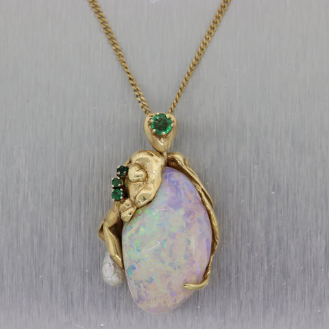 "Vintage Estate 14k Yellow Gold 0.35ctw Emerald & Large Opal 18"" Necklace"