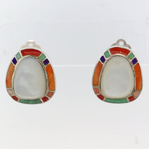 Begay Navajo Southwest Sterling Silver Mother of Pearl Inlay Clip-On Earrings