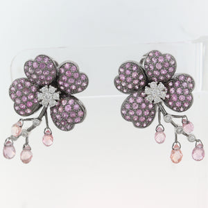 Modern 18k White Gold 2.15ctw Pink Sapphire & Diamond Flower Earrings