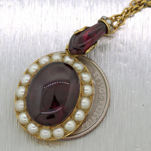 "1850's Victorian 14k Yellow Gold Snake Head Bohemian Garnet Pearls 17"" Necklace"