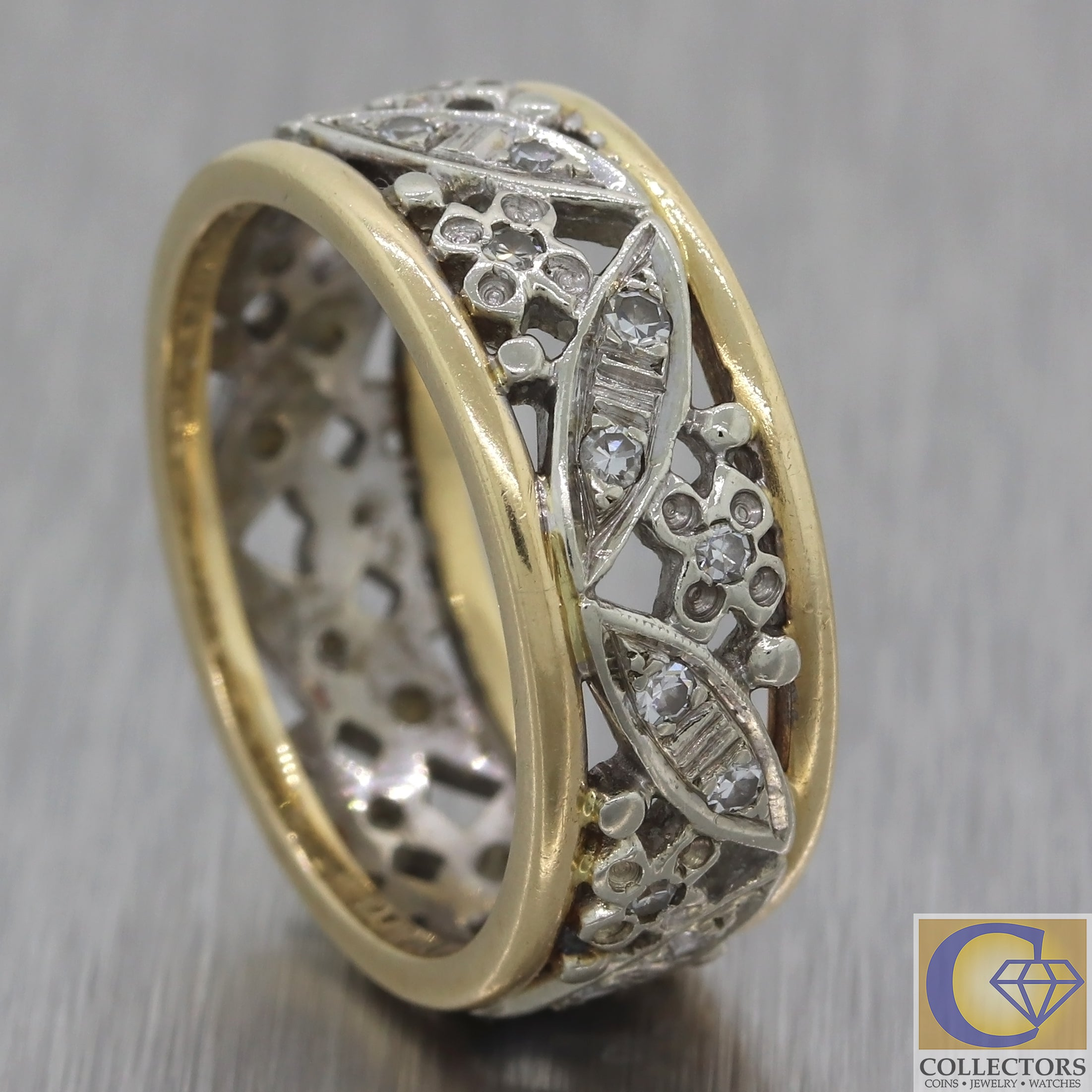 Vintage Estate 14k White Yellow Gold Diamond Filigree Wedding Band Ring