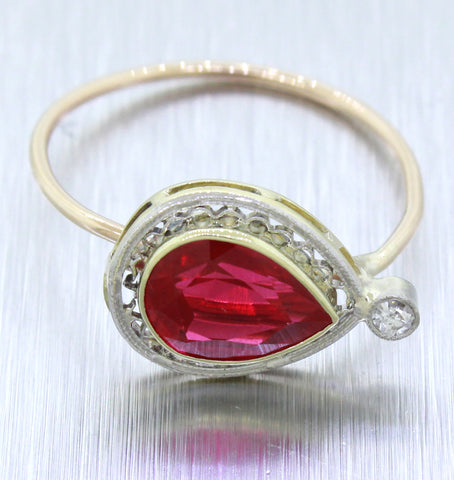 1930s Antique Art Deco 14k Solid Gold 1.25ct Pear Rubellite Pin Conversion Ring
