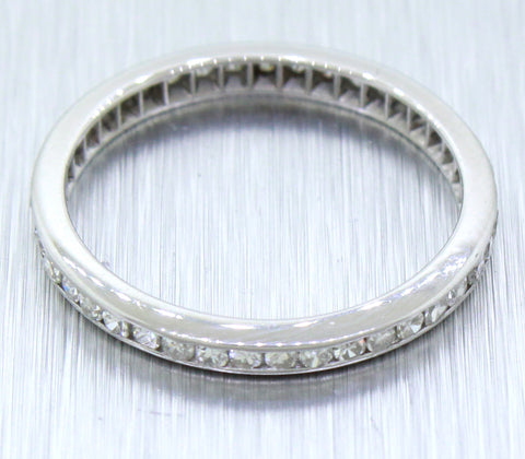 1940s Antique Art Deco Solid Platinum 0.50ctw Diamond Thin Wedding Band Ring
