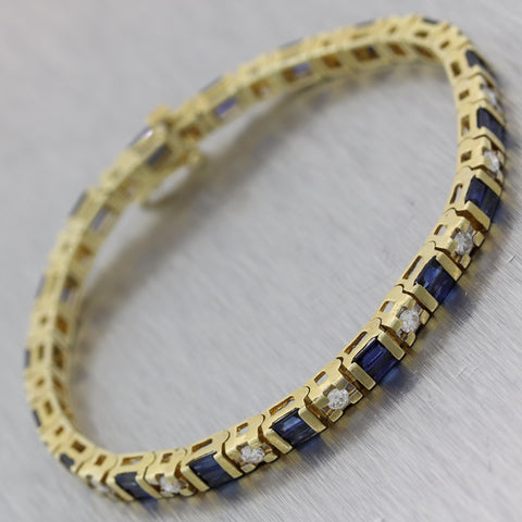 Vintage Estate 14k Yellow Gold 3.06ctw Sapphire & Diamond Bracelet