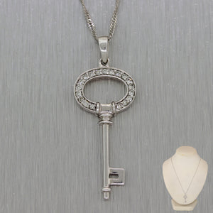 "Modern 14k White Gold 0.10ctw Diamond Key 18"" Necklace"