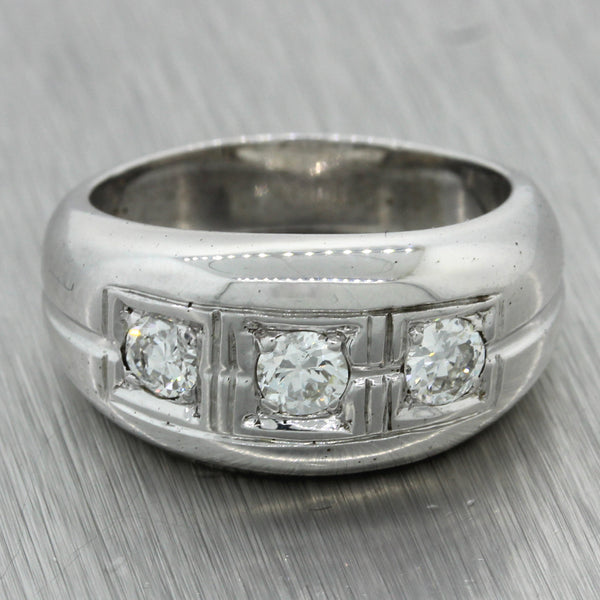 1930s Antique Art Deco 14k Solid White Gold .40ctw Diamond Wide Band Ring
