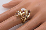 Antique Estate 14K Yellow Gold 0.45ctw Ruby Diamond Baroque Pearl Cocktail Ring