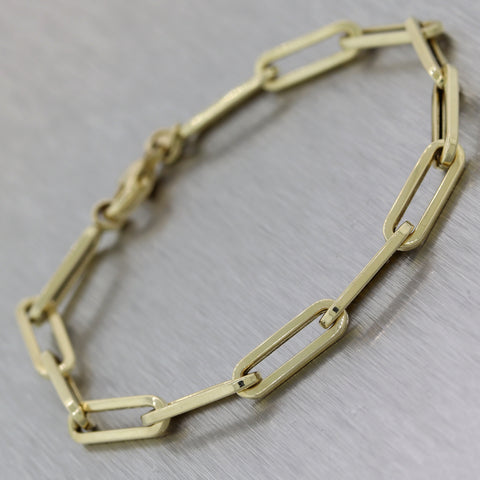 Modern 14k Yellow Gold Ladies Paperclip Design Chain Bracelet