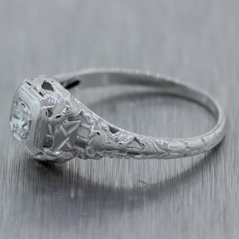 1930s Antique Art Deco 18k White Gold Filigree .15ctw Diamond Bird Motif Ring