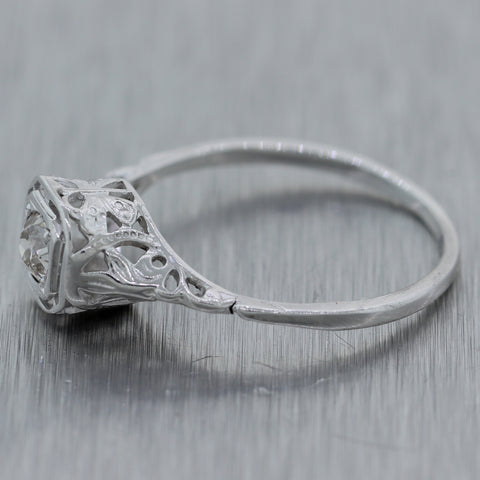 1930s Antique Art Deco 14k White Gold 0.25ctw Diamond Solitaire Engagement Ring