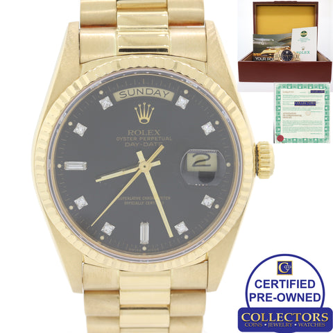 Rolex Day-Date President 18038 18k Yellow Gold Diamond Black Watch Papers C8