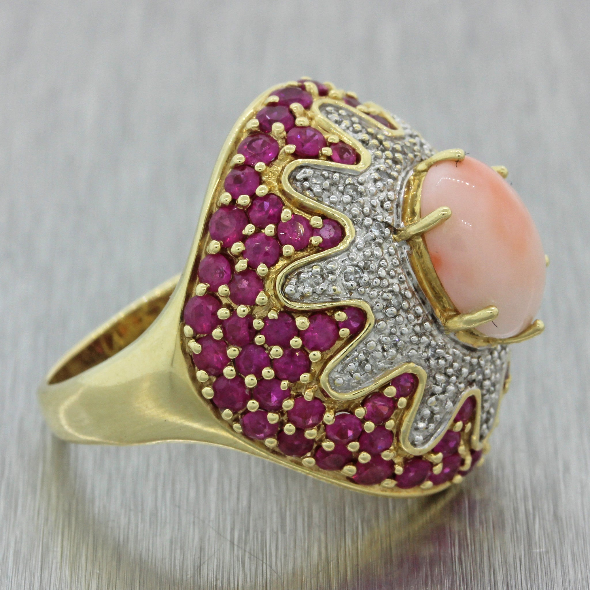 Vintage 18k Solid White Gold 2.82ctw Pink Sapphire Diamond Angel Skin Coral Ring