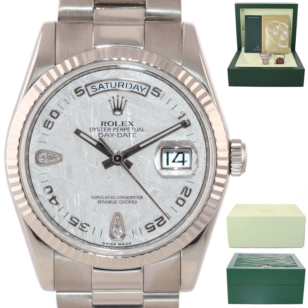 2008 METEORITE DIAMOND Rolex President Day Date 118239 White Gold Watch