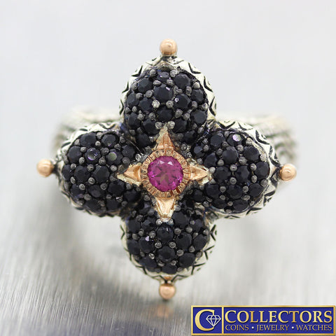Barbara Bixby 18k Gold Sterling Silver Ruby Pave Black Sapphire Lotus Cocktail Ring S8