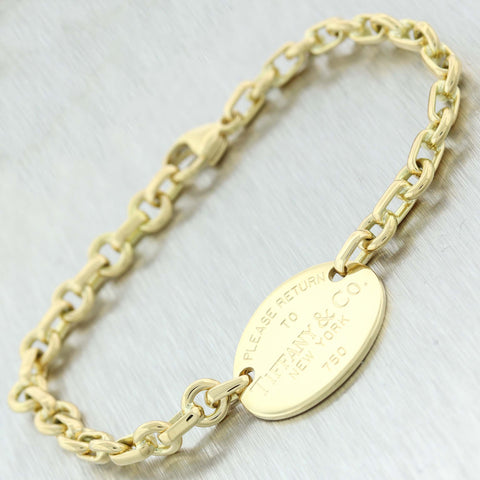 "Tiffany & Co. Estate 18K Yellow Gold ""Please Return"" Oval Tag 7"" Bracelet C9"