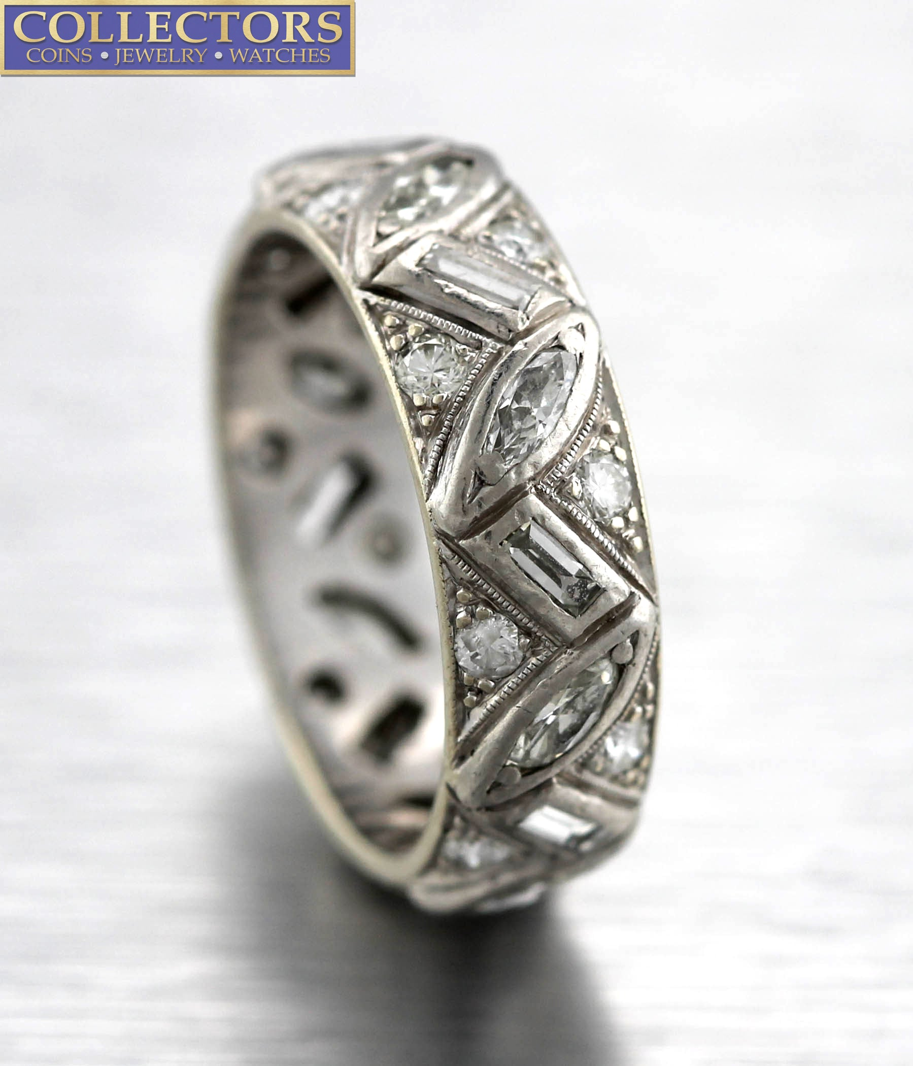 Ladies 14K White Gold 1.04ctw Marquise Round Baguette Diamond Cluster Band Ring