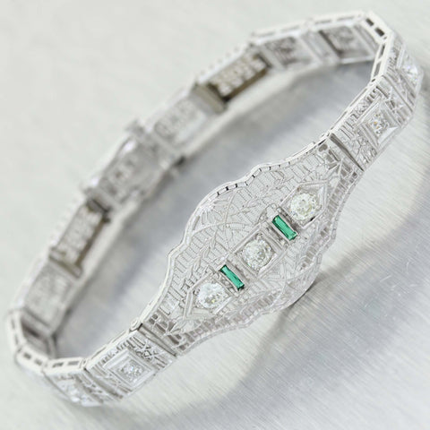 1930's Antique Art Deco 14K White Gold .60ct Diamond & .06ct Emerald Filigree Bracelet C9