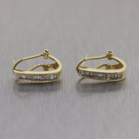 Vintage Estate 14k Yellow Gold 0.50ctw Diamond Baguette Hoop Earrings