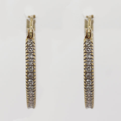 Modern 14k Yellow Gold 0.50ctw Diamond In & Out Hoops