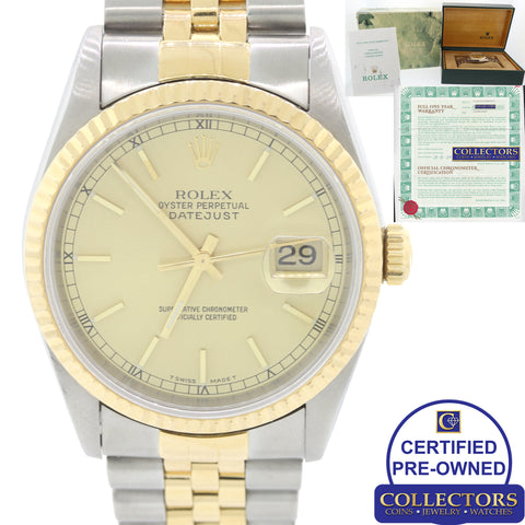 Rolex DateJust Champagne 16233 Steel 18k Gold Two Tone 36mm Watch Box Papers C8