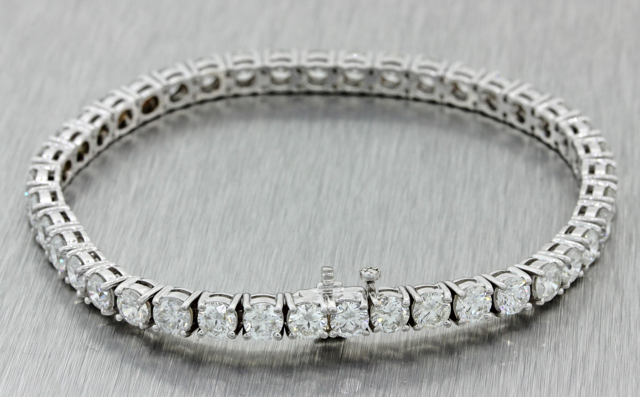 Vintage Estate 14k Solid White Gold 11.68ctw Diamond 5mm Tennis Bracelet 17.8g