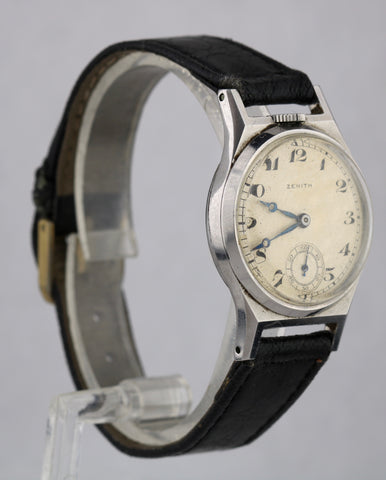 Vintage 1930s Zenith Top-Wind Tonneau Stainless Steel Silver 29mm Manual Watch