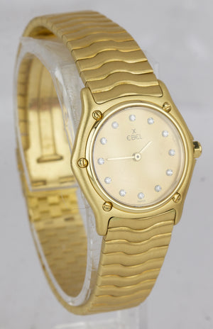 Ladies Ebel Wave 18K Yellow Gold 26mm Quartz Champagne Diamond Watch 881908