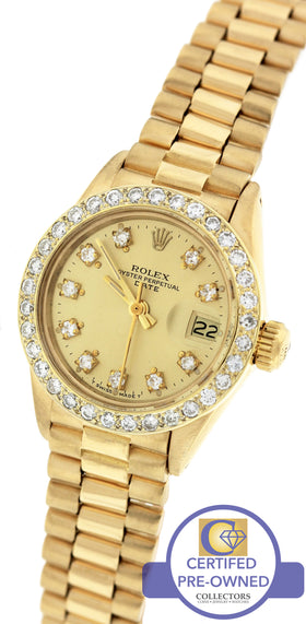 Ladies Rolex Date President 26mm 6917 18K Gold Diamond Watch 69178 DateJust