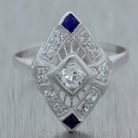 1930s Antique Art Deco Platinum 14k White Gold Diamond Sapphire Ring