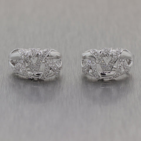 Modern 18k White Gold 0.75ctw Diamond Huggie Hoop Earrings