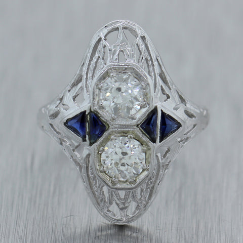 1930s Antique Art Deco 18k White Gold 0.42ctw Diamond Sapphire Filigree Ring