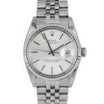 Rolex DateJust 36mm Stainless Steel Patina Silver Stick Jubilee Date Watch 16030