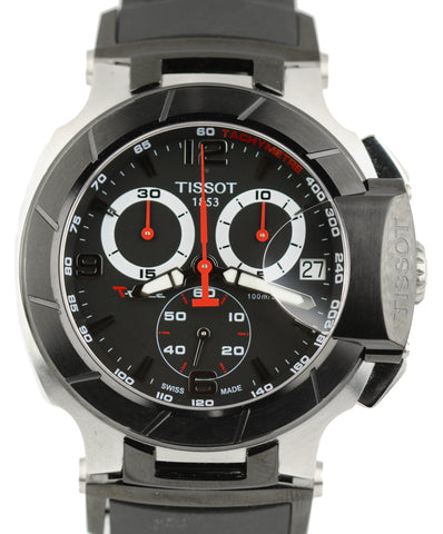 Tissot T-Race Black Red T048417A Chronograph Stainless Steel Rubber Band Watch