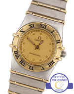 Ladies Omega Constellation Mini 22mm Two-Tone Gold 'Full Bar' Quartz Date Watch