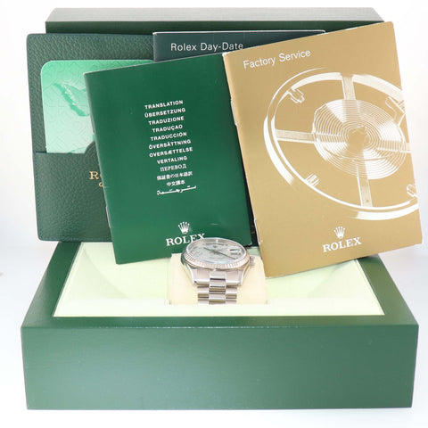 2018 SERVICE Rolex President Day Date 118239 Meteorite HEAVY Band White Gold Watch