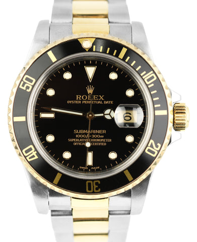 Rolex Submariner Date 16803 Two-Tone Gold Stainless Black 40mm Dive Watch 16613