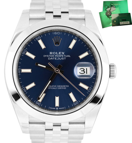 AUG 2020 NEW Rolex DateJust 41 Blue Stick 126300 41mm Smooth Stainless Watch