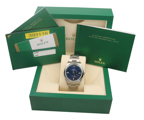 2017 BRAND NEW Rolex Oyster Perpetual 39mm Blue Green Stainless 114300 Watch