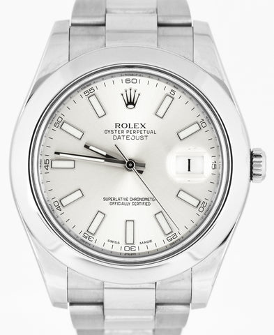 Men's Rolex DateJust II 41mm 116300 Dial Silver Smooth Bezel Stainless Watch