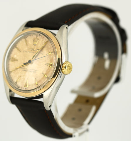 1953 Vintage Rolex Oyster Perpetual 14K Two-Tone Bubbleback 6084 34mm Watch