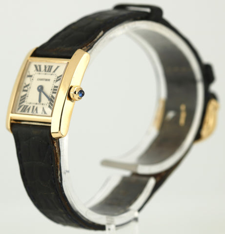 Ladies Cartier Tank Francaise 1820 18k Yellow Gold Quartz Roman Leather Watch