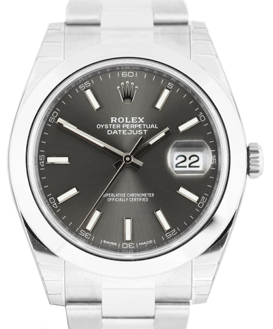 2020 NEW Rolex DateJust 41 Rhodium Stick 126300 41mm Smooth Stainless Watch