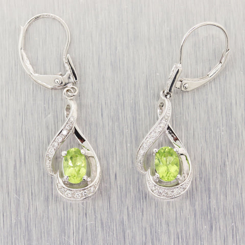 Modern 14k White Gold 1ctw Peridot 0.20ctw Diamond Drop Earrings