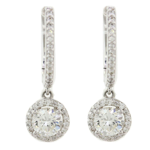 Modern 14k White Gold 2.68ctw Diamond Drop Earrings