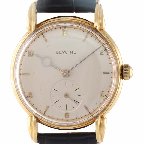 Vintage Glycine 18k Yellow Gold 34mm Manual Wind Silver Arabic Stick Watch A9