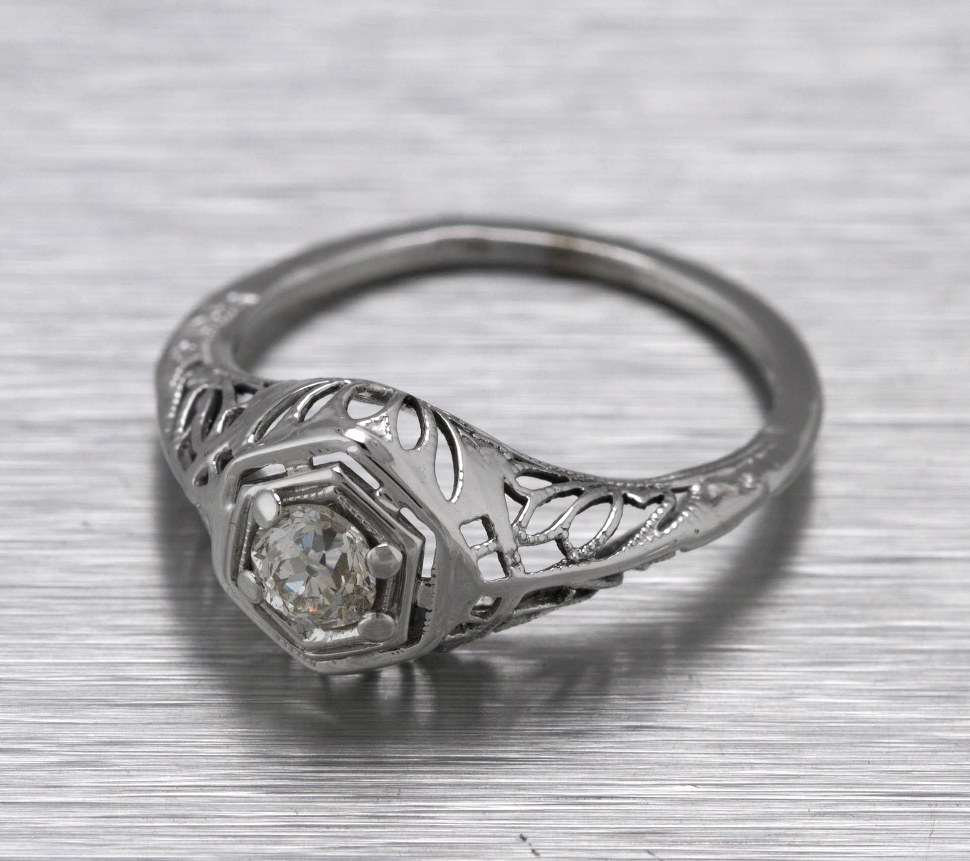 Antique Art Deco 14K White Gold 0.25ct Diamond Filigree Engagement Ring