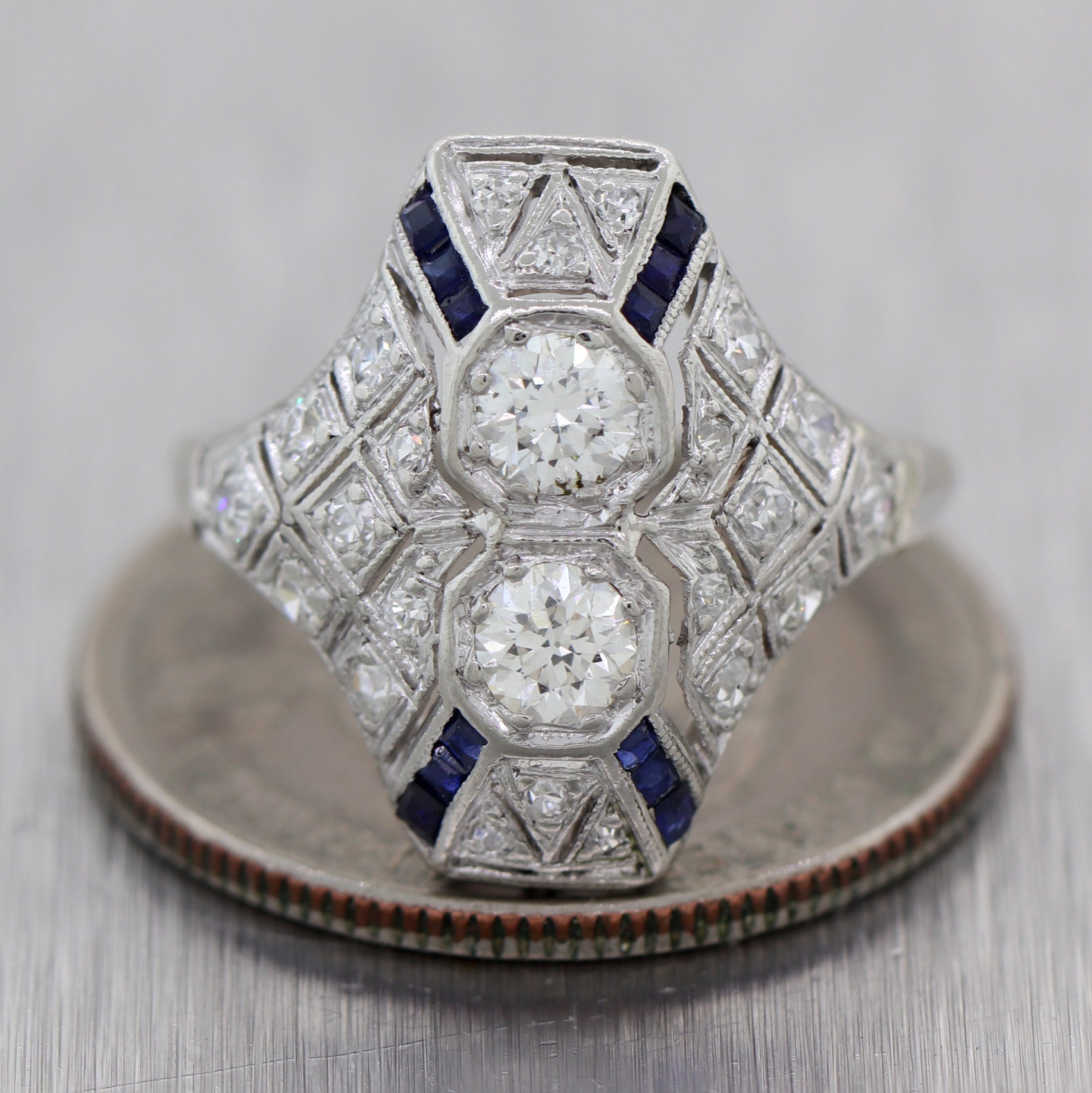 1920's Antique Art Deco 14k White Gold 1.15ctw Diamond & Sapphire Cocktail Ring