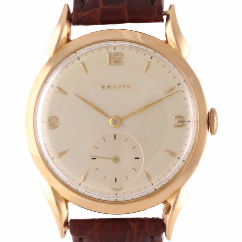 Vintage Zenith 18k Yellow Gold 36mm Manual Wind Silver Arabic Stick Watch A9